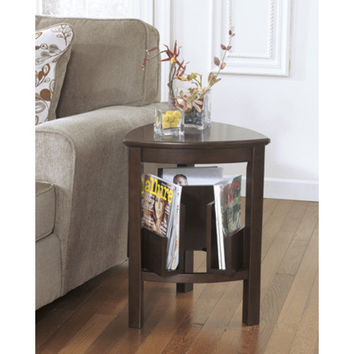 T654-6 Larimer Triangle End Table - Dark Brown - Free Shipping!