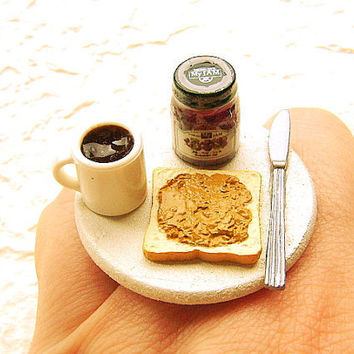 Kawaii Food Ring Coffee Toast Peanut Butter by SouZouCreations