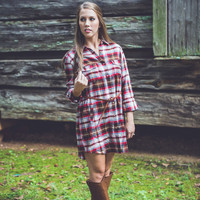Plaid Flannel Dress in Red