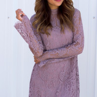 Venetian Mock Lace Dress - Mauve