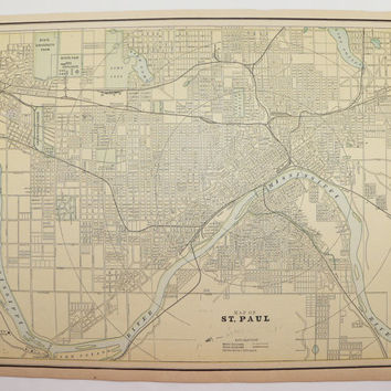 Vintage Map St Paul Minneapolis Map 1891 Antique Map Twin Cities Office Art Gift for Friend, Wedding Gift for Couple, History Buff Gift