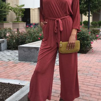 Surplice Ankle Jumpsuit With 3/4 Sleeves