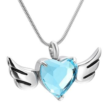 IJD9957 Light Blue Big CZ Stone Inlay Loss of Love Keepsake Urn Necklace 316L Stainless Steel Cremation Jewelry Pendant for Ash