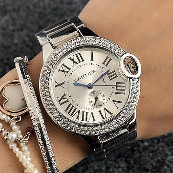 Cartier Women Fashion Diamonds Quartz Movement Wristwatch Watch