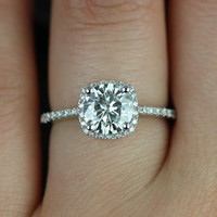Barra Original Size 14kt White Gold FB Moissanite and Diamonds Cushion Halo Engagement Ring (Other metals and stone options available)