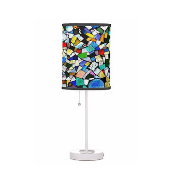 Drum Shade Table Lamp - Stained Glass, Mosaic, Mixed Media - Office, House, Dorm, Guest Room, Nursery, Childrens Room-Made to Order-TMW1#73