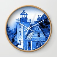 Light House: Blues Wall Clock by Eileen Paulino
