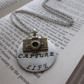 Capture Life  Metal Hand Stamped Pendant Necklace by SeizeTheNight