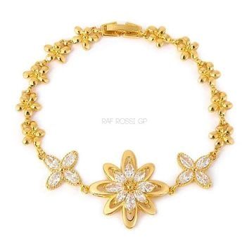 Lisbeth Cz Clear Flower Gold Plated Bracelet