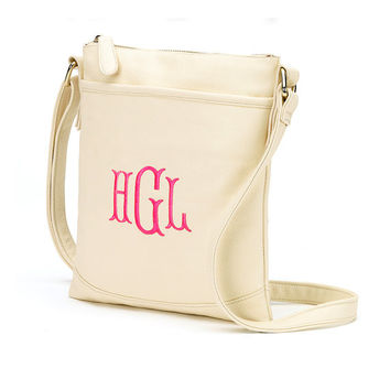 Cream Crossbody Purse Wallet Creme - Monogrammed Personalized