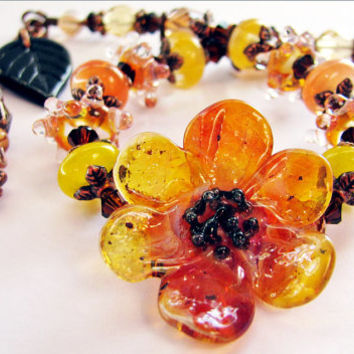 MAY SALE, Brown Eyed Susan Lampwork Bracelet, Orange Yellow Black Sculptured Glass, Antiqued Copper Bracelet, Handmade Woodland Gift