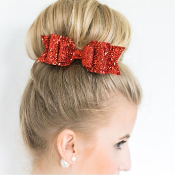 2016 WigsHeaven New Fashion Glitter Satin Big Bow Hair Clip