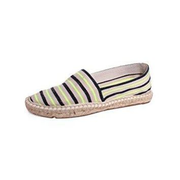 DCCKG2C Tory Burch Striped Canvas Espadrilles, Fluo Yellow/Tory Navy/Natural