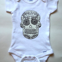 Black and white sugar skull baby Onesuit - unisex size 0-3 months, 6-9 months, 12 months, 18 months