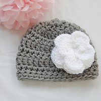 Ready to Ship New Crochet Grey Gray Baby Beanie Girl 18 Months - 24 Months