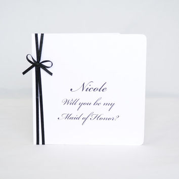 Will you be my maid of honor Card  -  Custom Bridal Party Cards - SET OF 3 CARDS