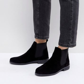 Office Jamie Black Suede Flat Chelsea Boots at asos.com