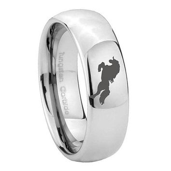 8MM Classic Mirror Dome Horse Tungsten Carbide Silver Engraved Ring