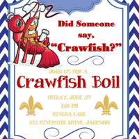 Printable Crawfish Boil Invitation for Party Graduation Engagement or Just For Fun!  Can be customized to your occassion!