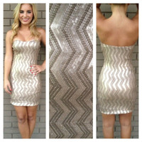 Gold Sequin Strapless Zig Zag Mini Dress