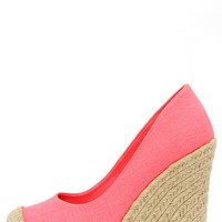 Bay Days Coral Neon Espadrille Platform Wedges