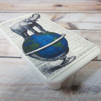 elephant on the globe, newspaper  iPhone 4/4s case/cover No.4-09