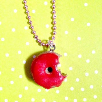 Strawberry Glazed Pink Donut Necklace//Geekery//Stocking Stuffers//Cyber Monday