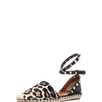 Cavallino Double Rockstud Leopard Espadrilles in Moro, White, and Black
