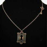 Lock and key necklace / copper necklace / key and lock jewelry / metal jewelry necklace / wire wrapped key and lock