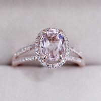 VS 6x8mm Pink Morganite Ring Diamond Wedding Ring 14K Rose Gold Oval Morganite Ring Engagement Ring