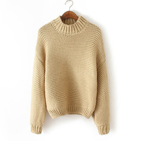 Long Sleeve Pullover Sweater Winter Round-neck Knit Tops Jacket [8422526721]