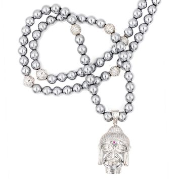 Men's Beaded Necklace with Silver Hematite and Buddha Pendant
