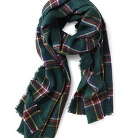 Old Navy Brushed Flannel Scarf Size One Size - Large Green Plaid