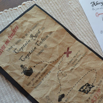 Pirate Birthday Party Invitations Treasure Map Skull cross bones invitations X marks the spot invites Boy/Girl Map invitations Pirate Party
