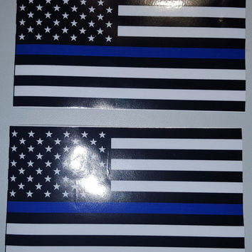 "MAGNETS Thin Blue Police respect flag Vinyl Decal Sticker 5""X 3"" Pack of 2 USA"