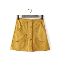 Yellow Faux Suede Leather Rivet Button Pocket A-line Mini Skirt