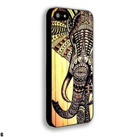 Aztec Elephant drawing wood Iphone 4 4s 5 5c 6 6plus Case (iphone 5 black)