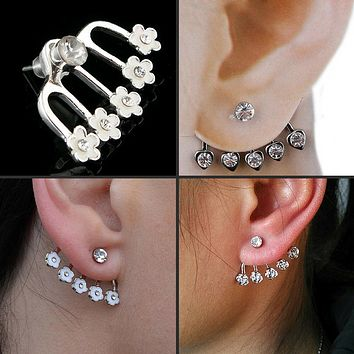 Star Rose Flower Diamante Crystal Ear Cuff