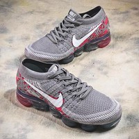 Nike Air Vapormax Mesh Grey Red Sport Running Shoes - Best Online Sale