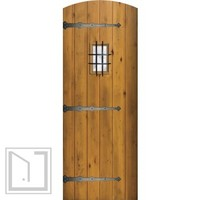 Speakeasy Prehung House Single Door 96 80 Wood AlderPlank Arch Top