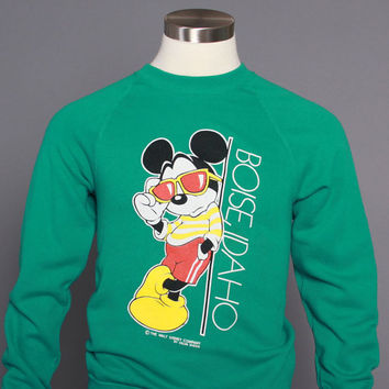 80s MICKEY Mouse SWEATSHIRT/ 1980s Boise Idaho Green Disney Crewneck S