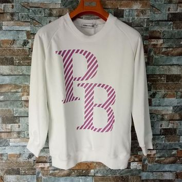 Pierre Balmain Unisex Casual Letter Print Long Sleeve Cotton Sweater Couple Loose Pullover Tops