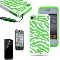 Pandamimi ULAK Green White Zebra Combo Hard Soft High Impact iPhone 4 4S 4G Armor Case Skin Gel with free screen protector and stylus