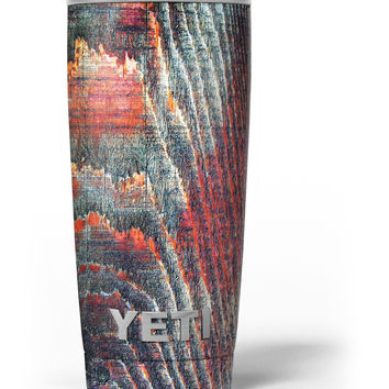 Grungy Orange and Teal Dyed Wood Surface Yeti Rambler Skin Kit