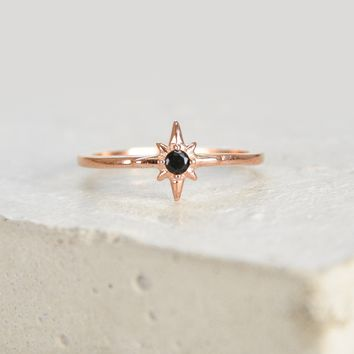 North Star Ring - Rose Gold + Black