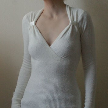 Vintage 1990s Caché Velour White Fitted Deep V Neck Pullover Mock Faux Wrap Ballet Sweater