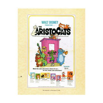 "50% Off Estate Sale Vintage Disney Print, Item 106M, 1970, 14"" x 18"" Matte, Mat, Disney Art Aristocats"