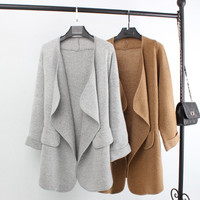 New Autumn Top Grade Open Stitch Long Cotton Wool Women Cardigan Fashion Casual Plus Size Woman Sweater Knitted Trench Coats