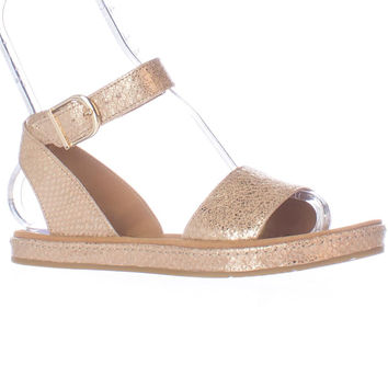 Clarks Romantic Moon Ankle Strap Flat Sandals - Champagne