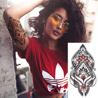 Mehndi Style Large Red and Black Henna Temporary Tattoo